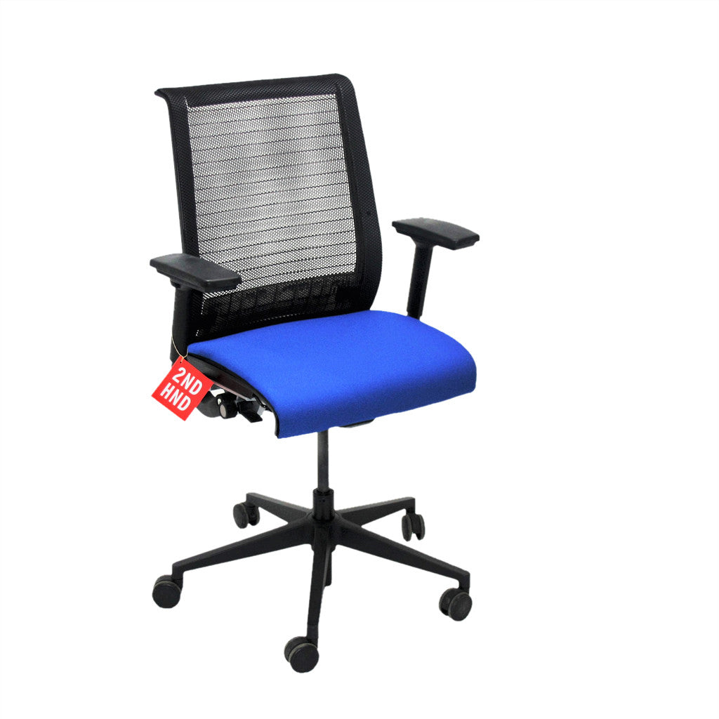 steelcase think office chair in new blue fabric mesh. Black Bedroom Furniture Sets. Home Design Ideas