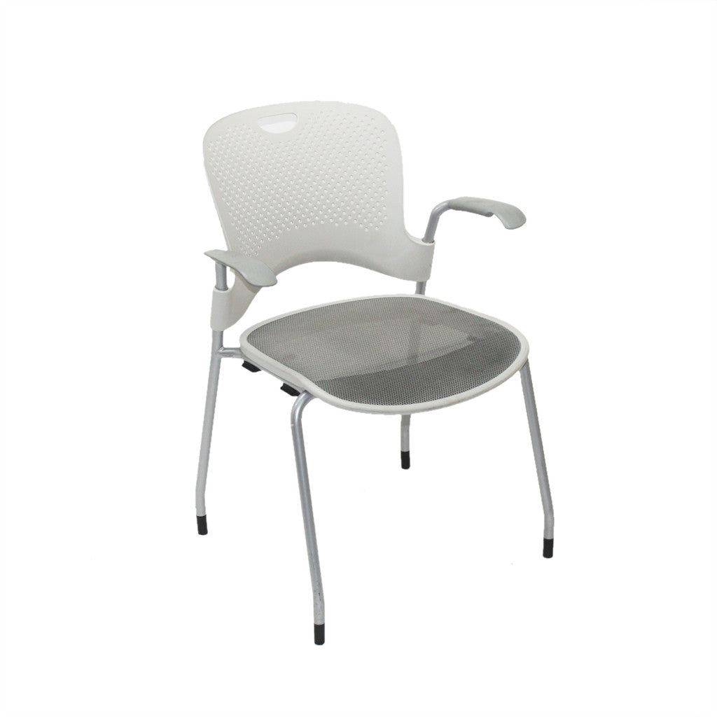 ... Herman Miller White Mesh Caper Stacking Arm Chair ...