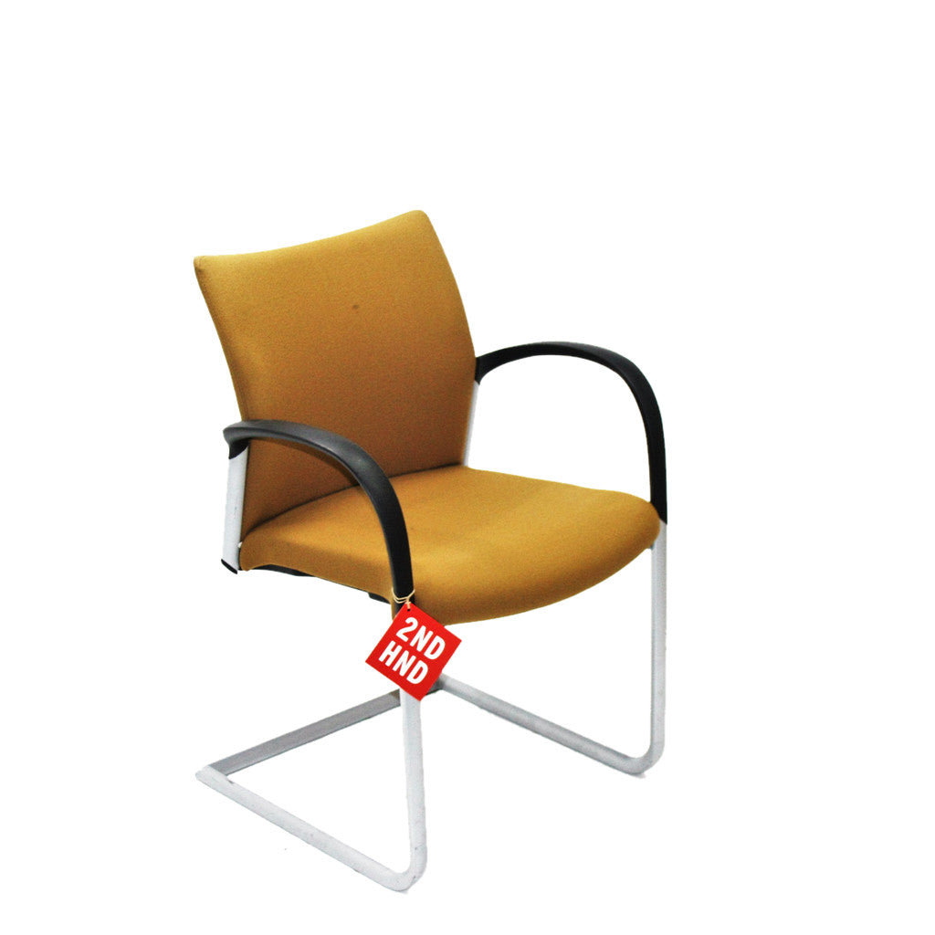 Boss Design Visitor Arm Chair in original yellow fabric