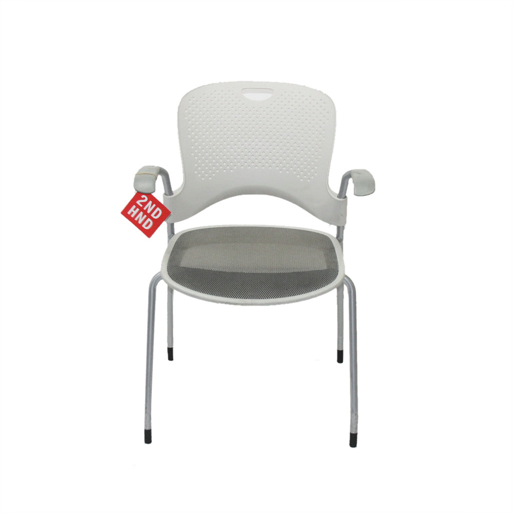 Herman Miller White Mesh Caper Stacking Arm Chair