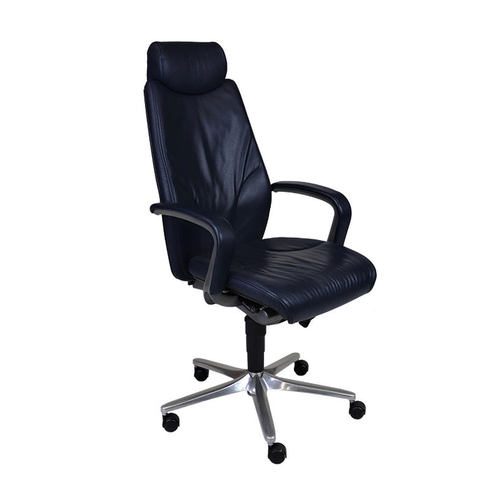 Giroflex G64 9278 Managerial Chair with Headrest - Blue Leather