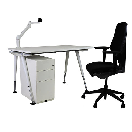 Herman Miller Abak Desk + Mobile pedestal + Giroflex G64 + Flat Screen Arm