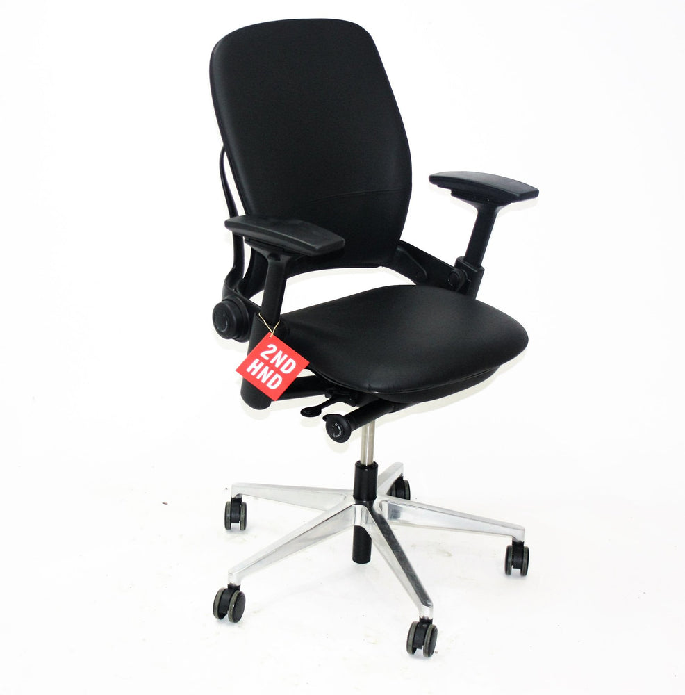 Steelcase Leap V2 New Black Leather Height adjustable arms
