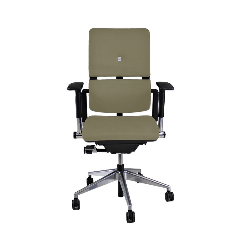 Steelcase Please V2 Aluminium Base in New Beige Leather