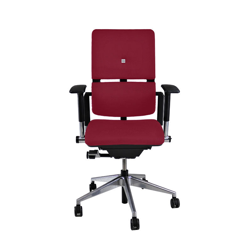 Steelcase Please V2 Aluminium Base in New Burgundy Leather