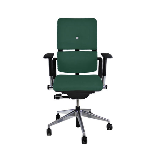 Steelcase Please V2 Aluminium Base in New Green Leather