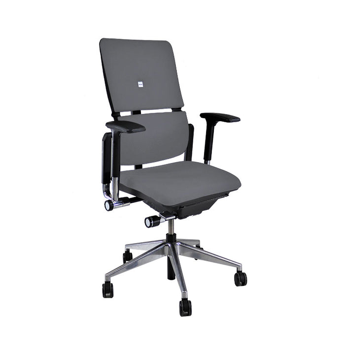Steelcase Please V2 Aluminium Base in New Grey Leather