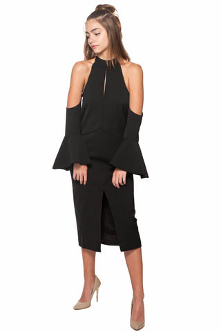Too Close Dress - Cameo - Shop Fourmi  - Cocktail Dress - Midi Dress - Off Shoulder Dress - Black Dress - Flared Sleeves