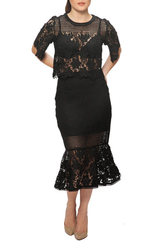 Deco Skirt - Elliatt - Shop Fourmi  - Imported - Australian design - High waist lace skirt - Midi skirt - fab look - classy