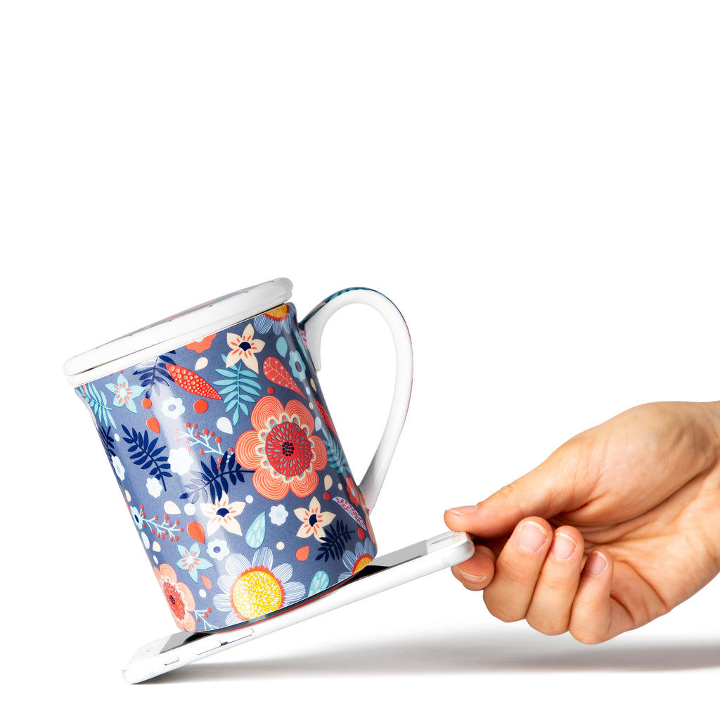 Mighty Mug Ceramic 12 oz : Blue Floral