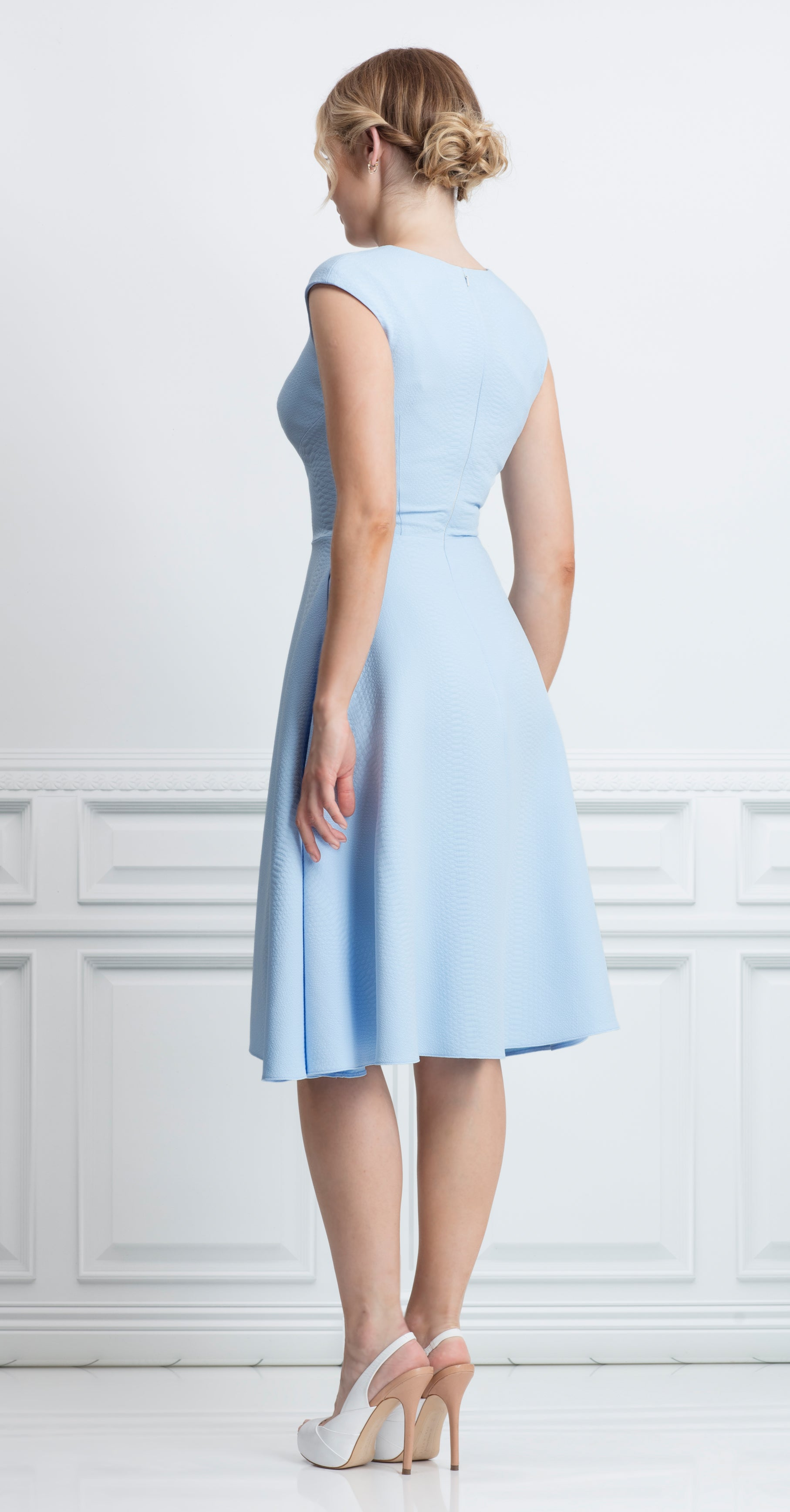 CALELLA DRESS PASTEL BLUE SNAKE
