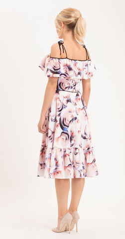 LEECE DRESS ABSTRACT ROSE