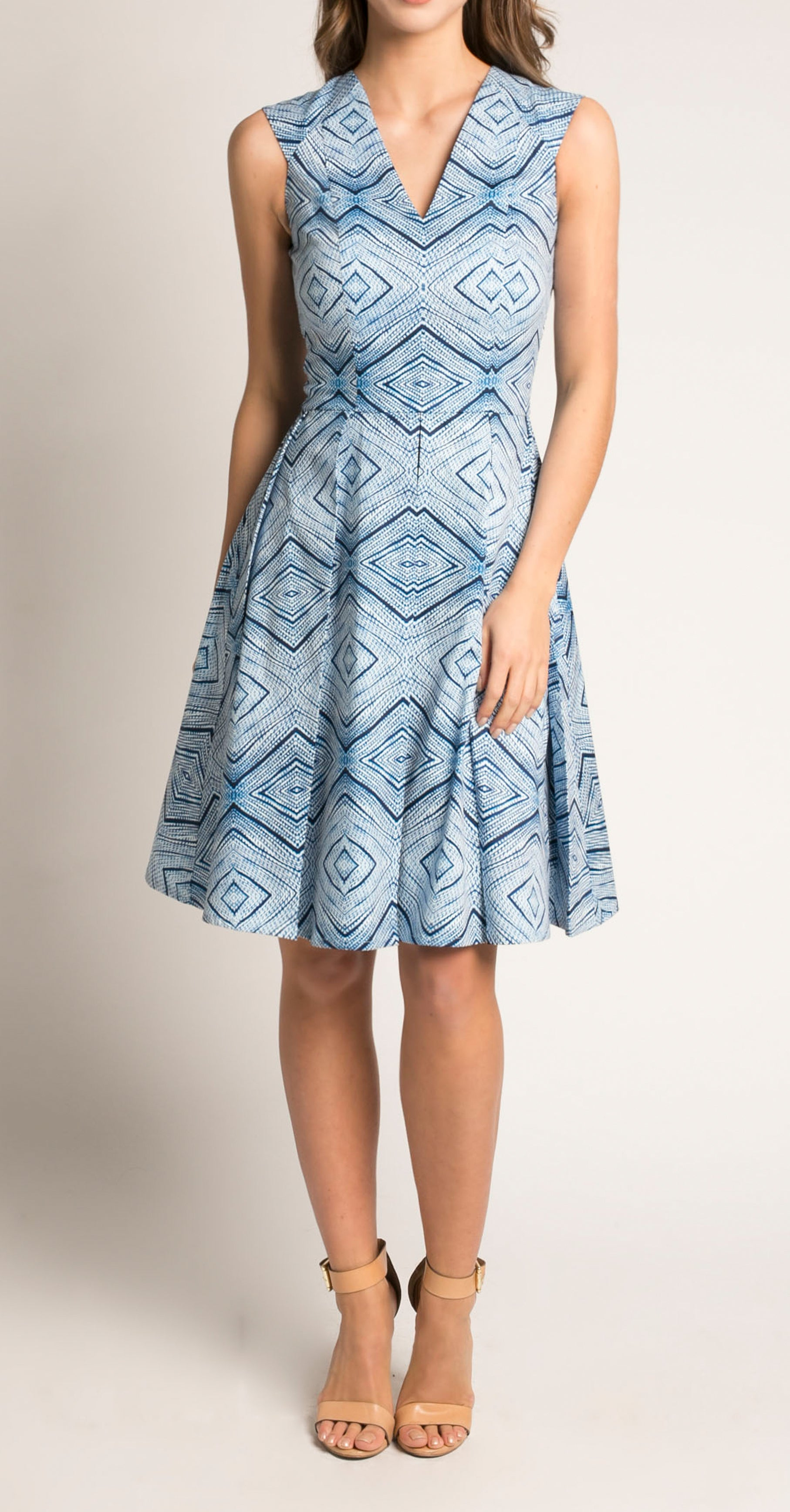 NANTES DRESS DENIM DIAMOND PRINT