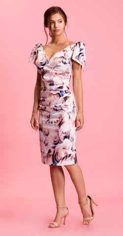 RAVELLO DRESS ABSTRACT ROSE