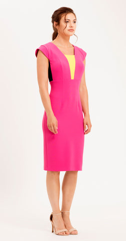 ROME DRESS HOT PINK/YELLOW/BLACK