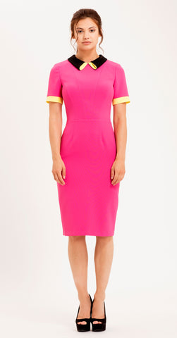 TATE DRESS HOT PINK/BLACK/YELLOW