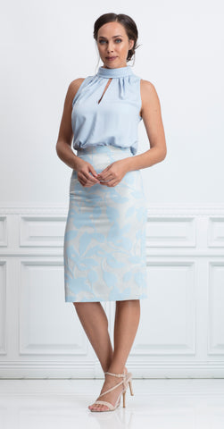 TELFORD SKIRT BLUE LEAF