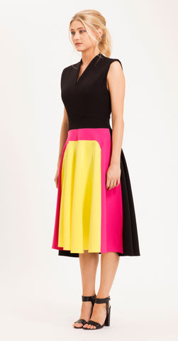 VENICE DRESS YELLOW/HOT PINK/BLACK