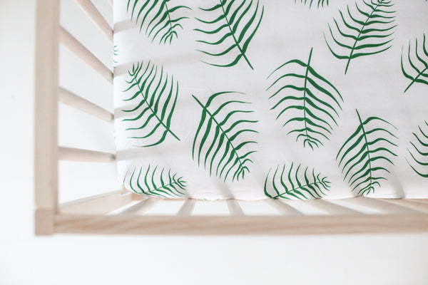 fitted crib sheet - palms
