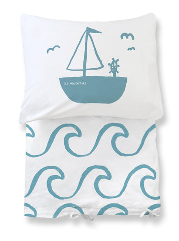 duvet set - big waves blue