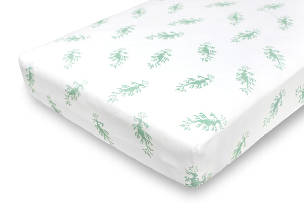 fitted crib sheet - leafy sea dragon green