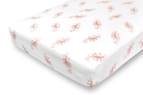 fitted crib sheet - leafy sea dragon pink
