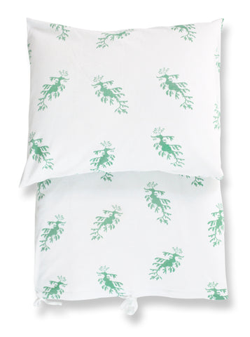 duvet set - leafy sea dragons green