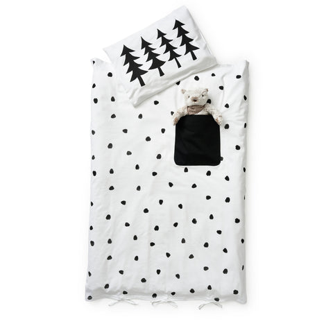 pocket duvet set - blackberries: black