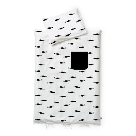 pocket duvet set - narwhals + big waves
