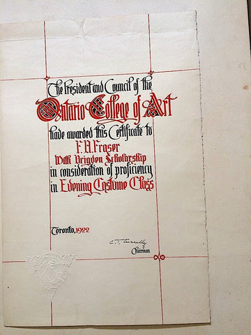 Certificate for Brigden Scholarship,  Proficiency in Evening Costume Class, Ontario College of Art, 1922.