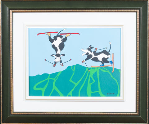 "ROBERT-EMILE FORTIN ""2 COWS SKIING AT TREMBLANT"" 2002"