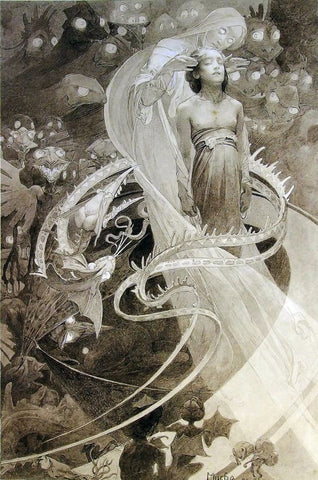 "ALPHONSE MUCHA ""LE PATER - LEAD US NOT INTO TEMPTATION BUT DELIVER US FROM EVIL"" 1899"