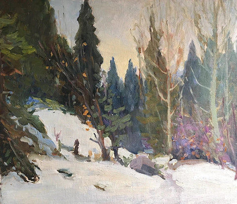 "GEORGE ALFRED PAGINTON ""FOREST IN WINTER"" CIRCA 1940"