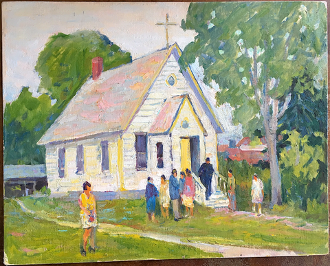 INDIAN CHURCH IN BRITISH COLUMBIA, Paginton, Group of Seven, Tom Thomson, AY Jackson, Odon Wagner, Lock Gallery, Alan Klinkhoff, Heffel, PAMA, Peel Art Gallery