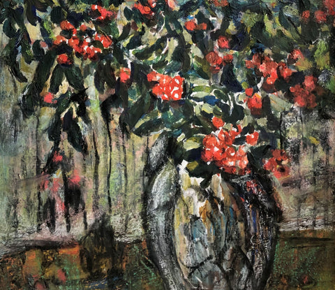 "GEORGE ALFRED PAGINTON ""RED FLOWERS"" 1980"