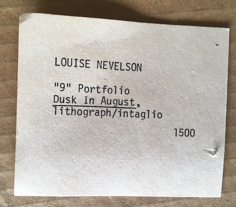 "LOUISE NEVELSON ""DUSK IN AUGUST"" ""9"" PORTFOLIO 1967"