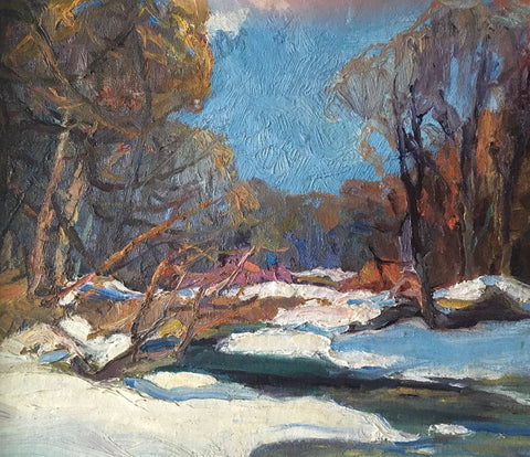 "GEORGE ALFRED PAGINTON ""WINTER STREAM, SOUTHERN ONTARIO"" 1930"