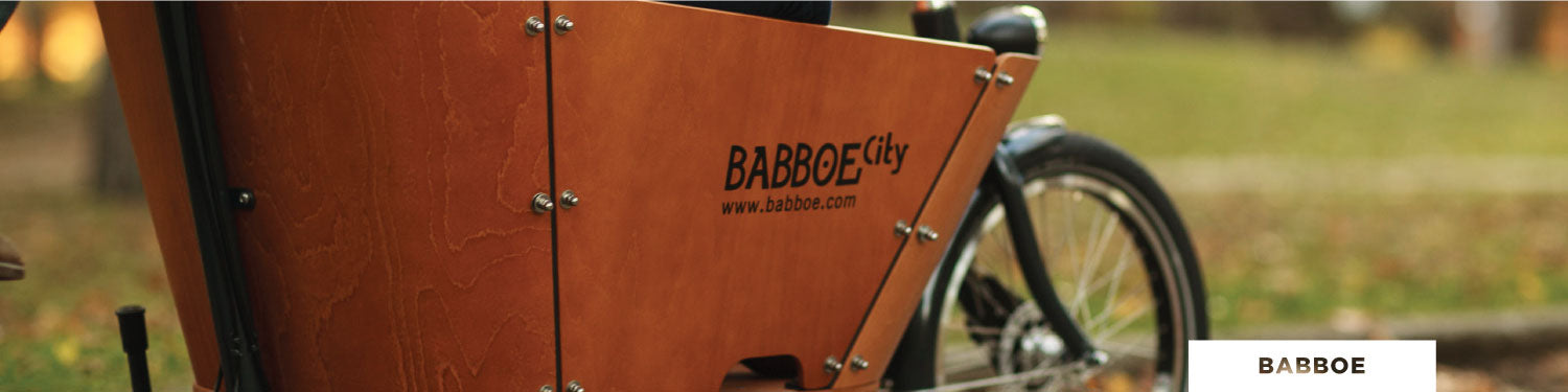 Babboe City Cargo Bike Side View of Cargo Box - Curbside 10% Promo Banner