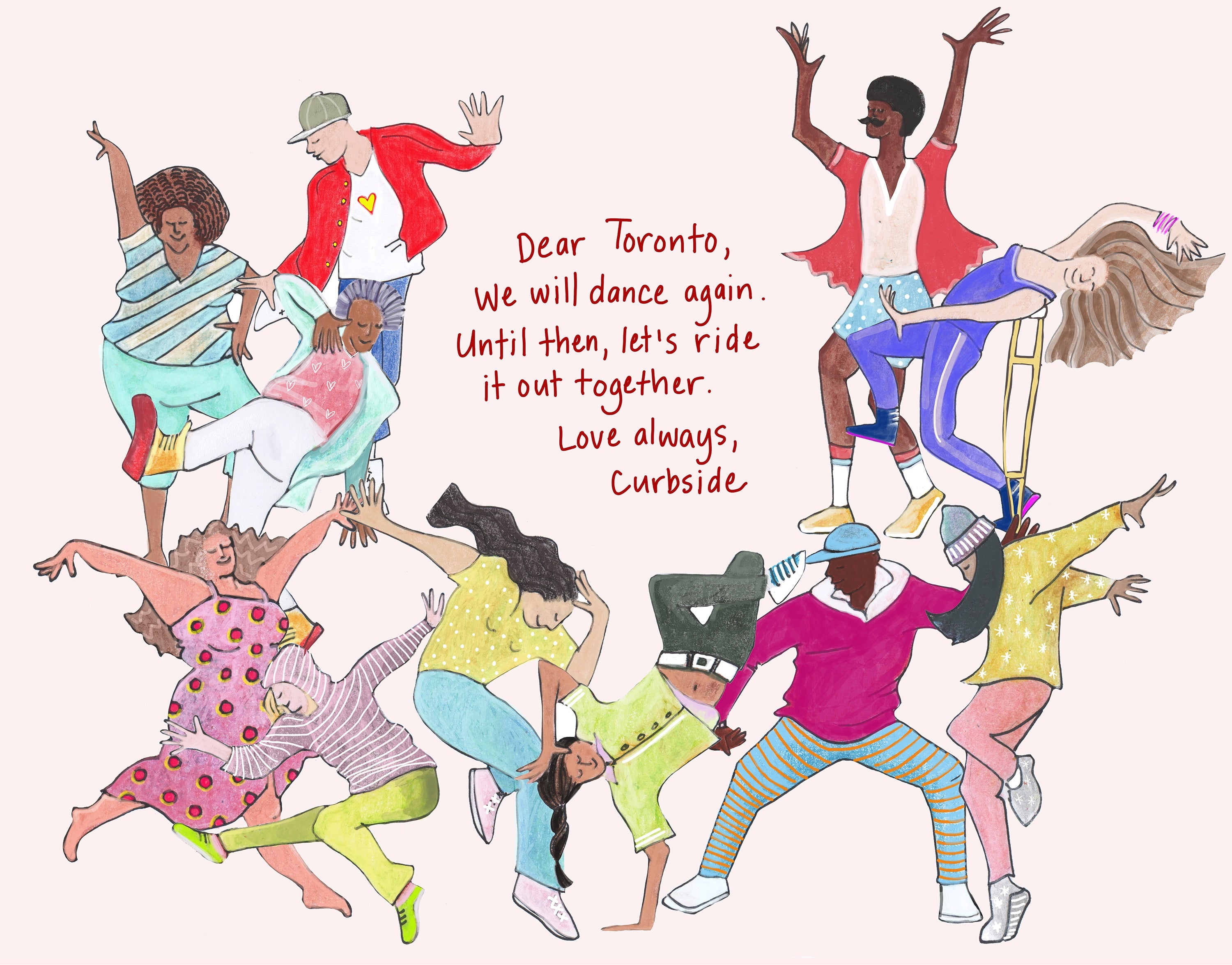 An illustration of people dancing in brightly coloured clothing around a love message written in red ink