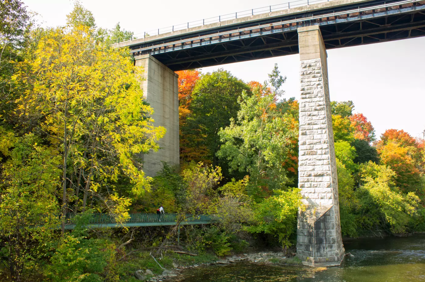 Humber River bridge and footpath in autumn