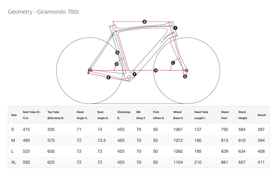 MASI GIRAMONDO 700C 2017 BICYCLE FRAME GEOMETRY