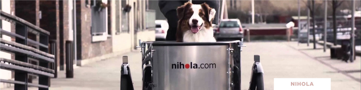 Nihola Three Wheel Cargo Bike with Dog - Curbside 10% Promo Banner 2019