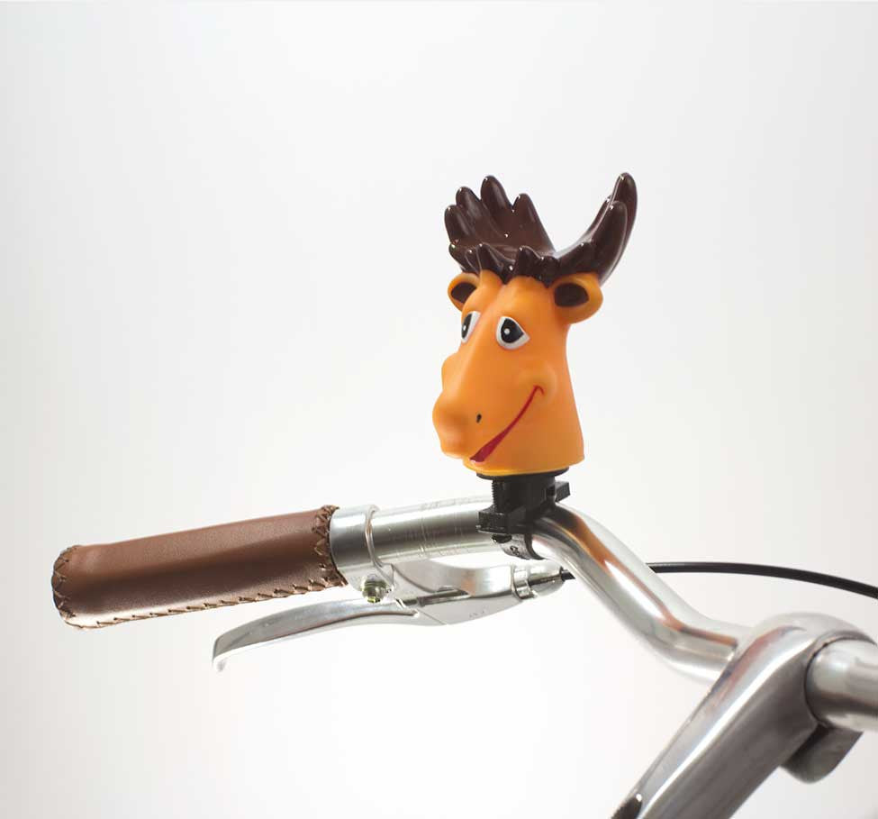 49N MOOSE ANIMAL HORN ON BICYCLE HANDLEBAR