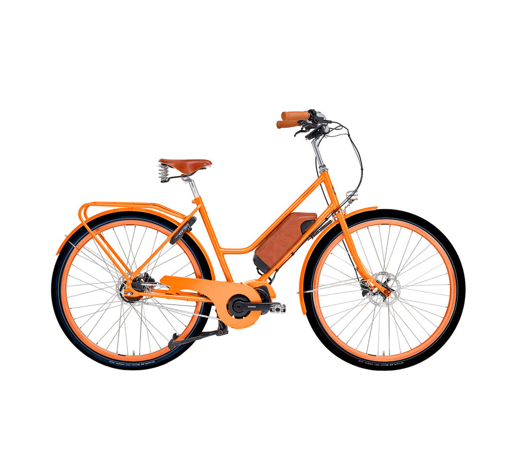 Achielle Emma Oma Step-Thru Dutch E-Bike in Tangerine