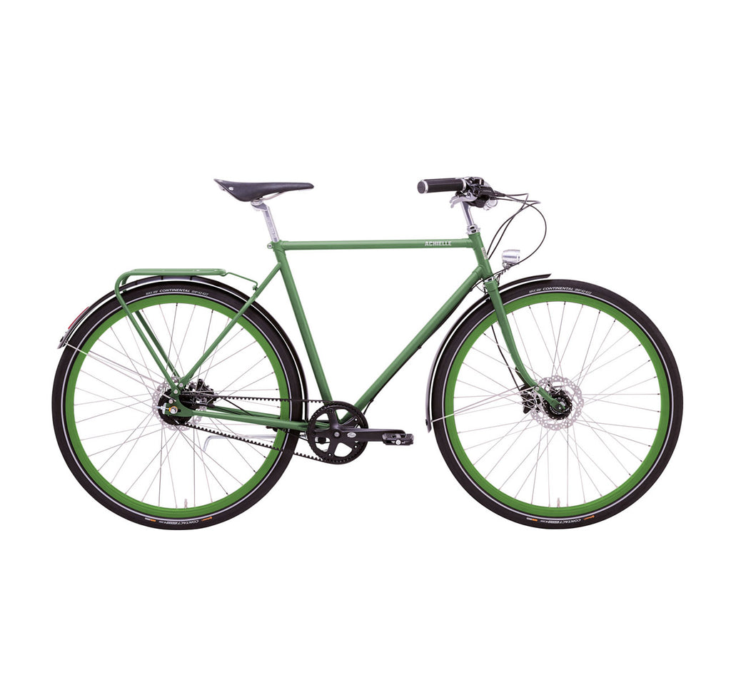 Achielle Oscar Gates Belt Drive Bike in Matte Olive Green
