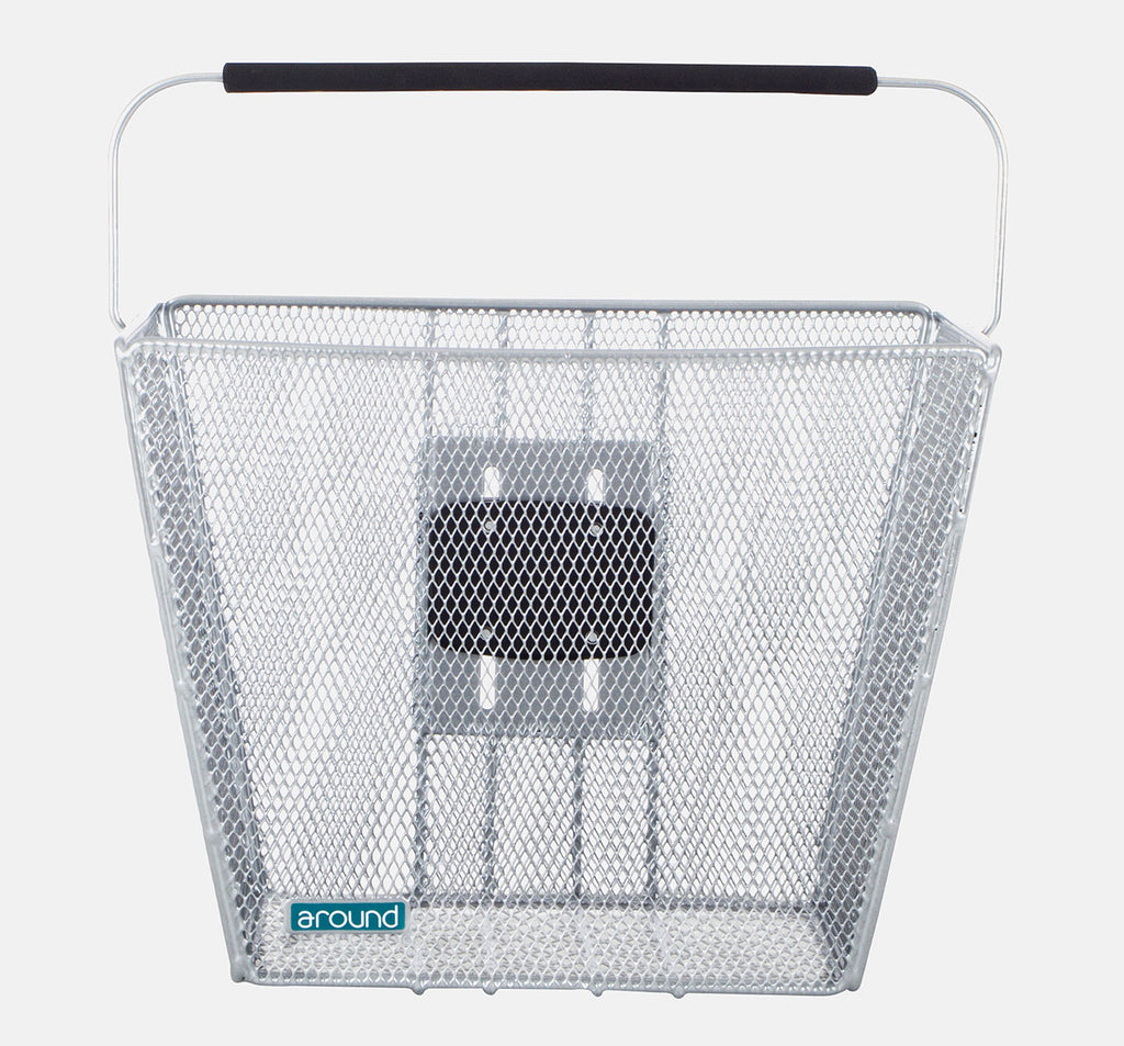 Around Ace Removable Front Basket in Silver - Front view