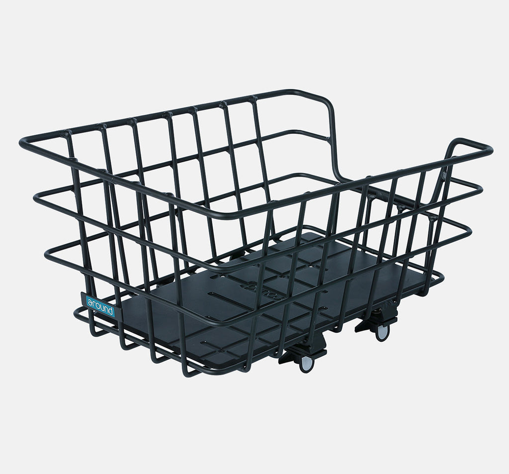 Around College ALU Rear Bicycle Basket in Black - Permanent Mount