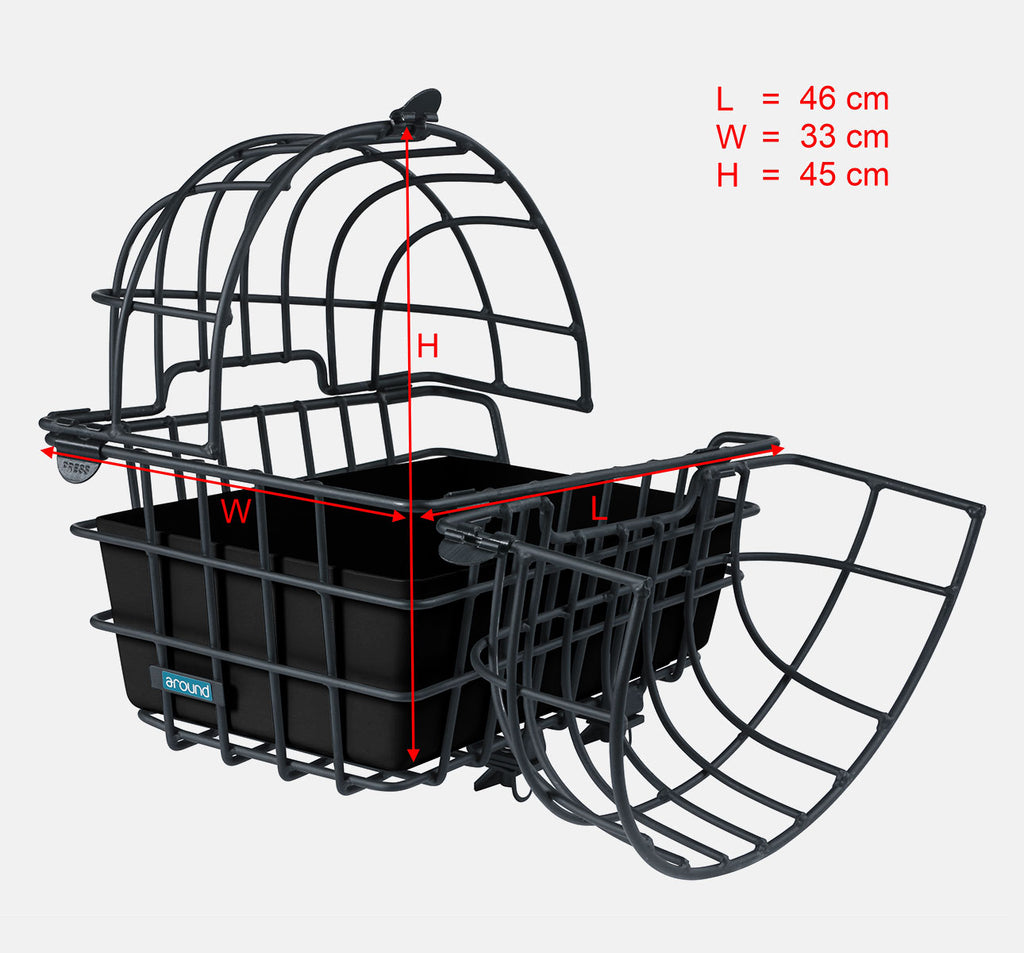 Around Bicycle Rear Pet Carrier - Open with Dimensions