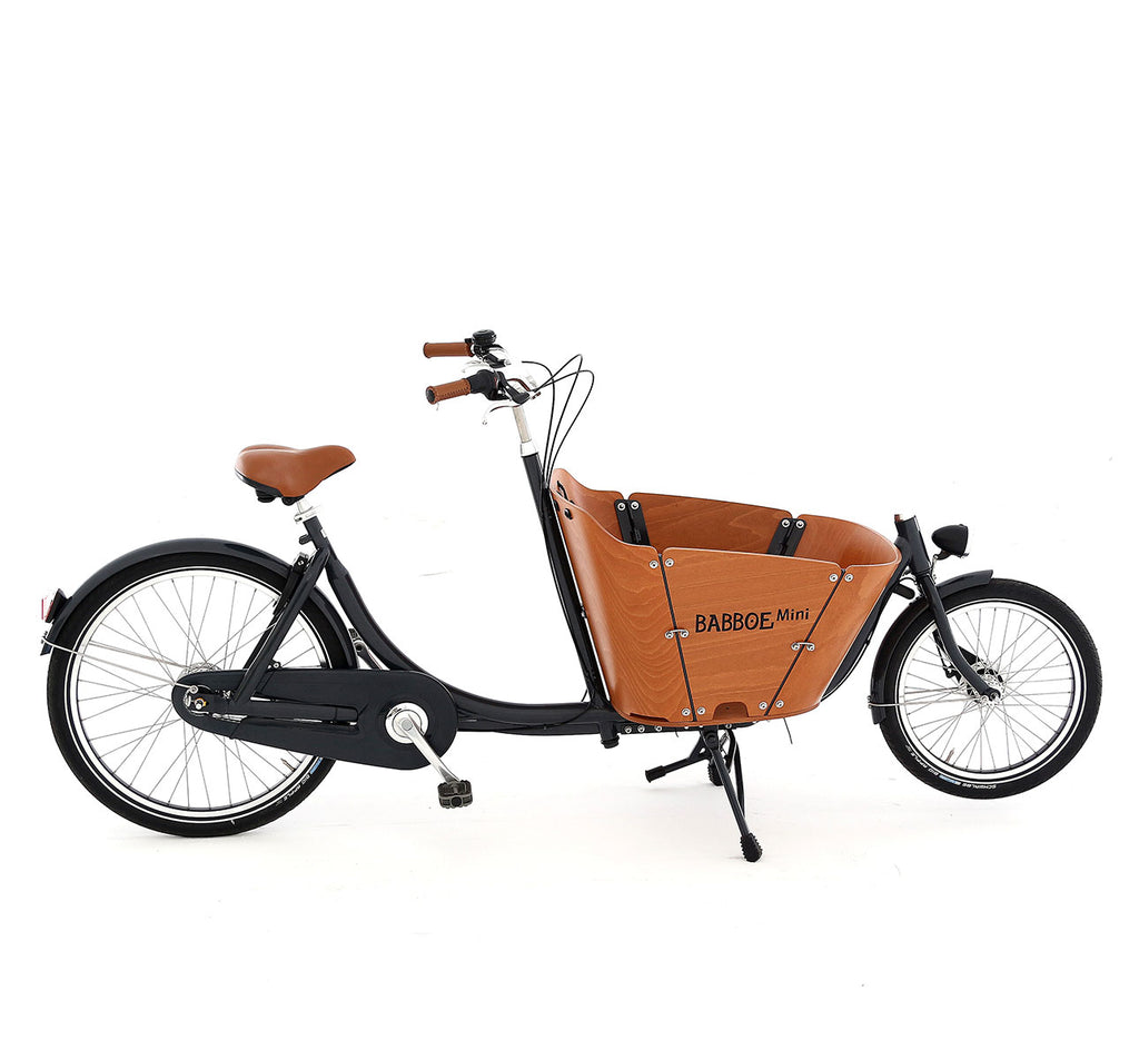 Babboe Mini Cargo Bike - Steel Frame With Natural Colour Marine-Grade Wooden Box