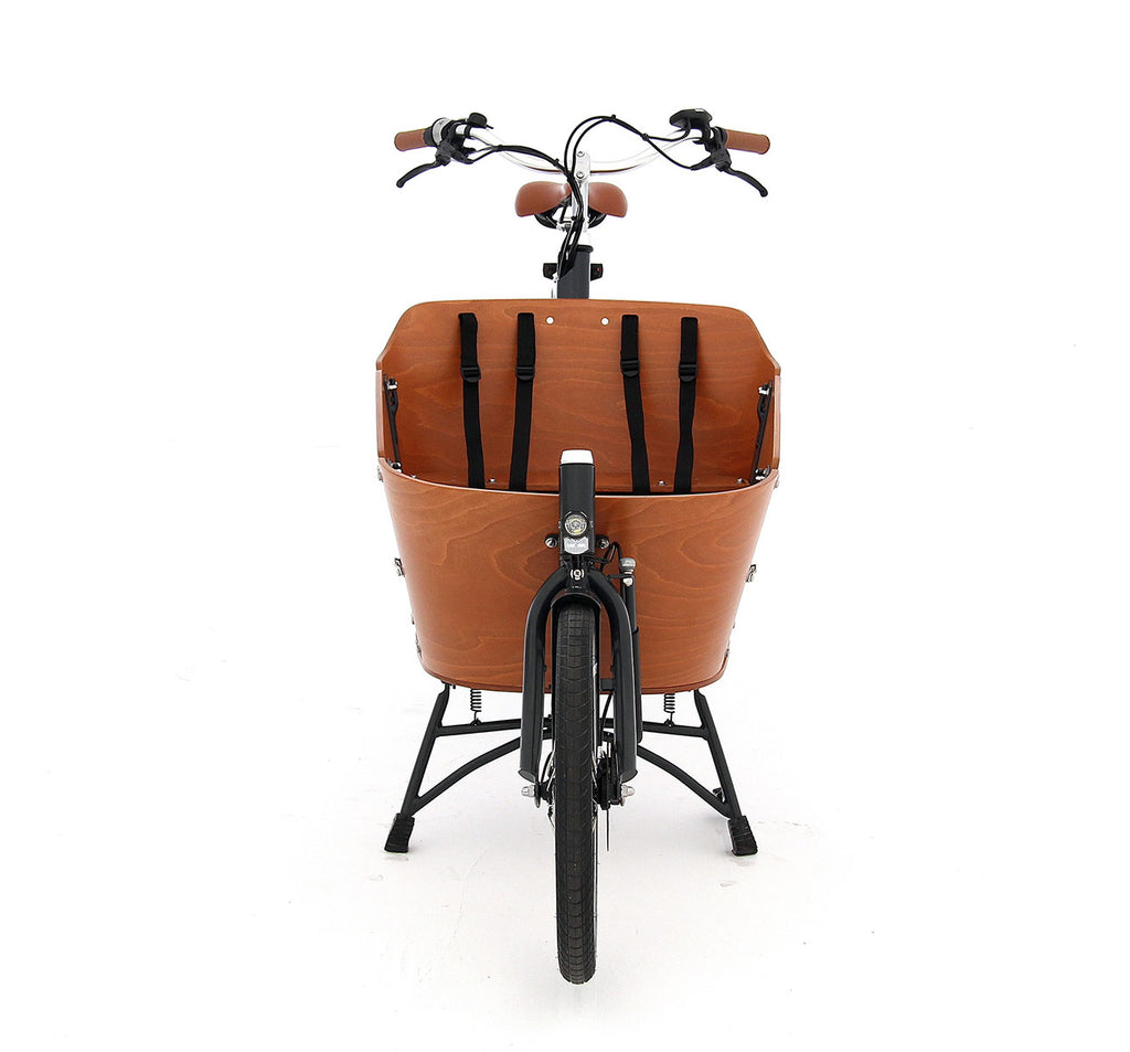 Babboe Mini Mountain Two-Wheeled Cargo E-Bike Front End Showing Wooden Cargo Box